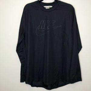 Nike men's black embossed logo crew neck jersey L